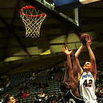 John Audley/ The Lumberjack  Casey Grundman takes a jump shot in front of Eastern Washington's defence.